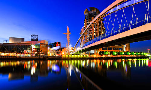 Sunset skyline of Salford Quays