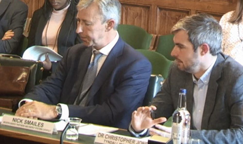 Chris Jones presenting evidence on a panel at the Environmental Audit Committee