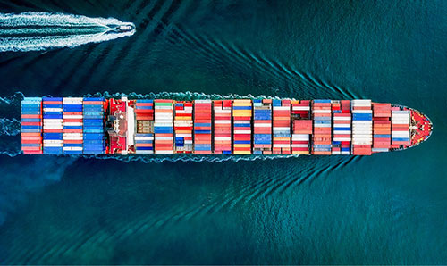 Container ship from above.